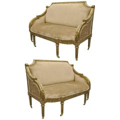 Pair of Maitland-Smith French Empire Neoclassical Style Settee Sofas Loveseat