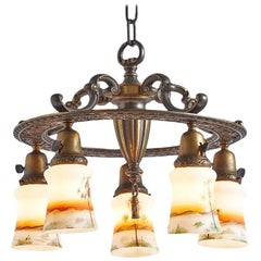 Revival-Style Five-Light Chandelier with Painted Shades, circa 1920s