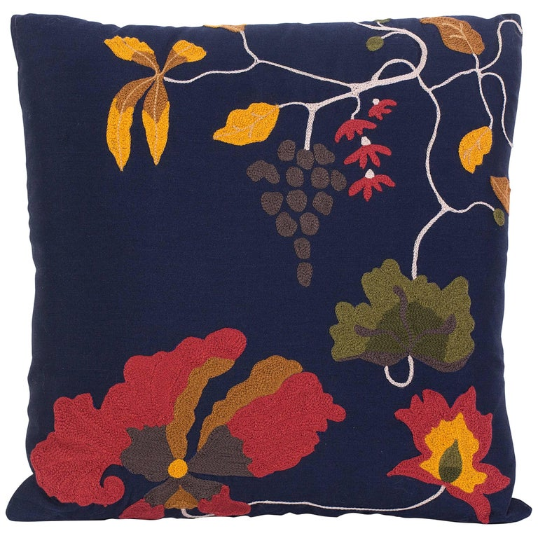 Floral Embroidered Decorative Pillow : Silk Wool Sateen Embroidered Floral Decorative Pillow For Sale at 1stdibs
