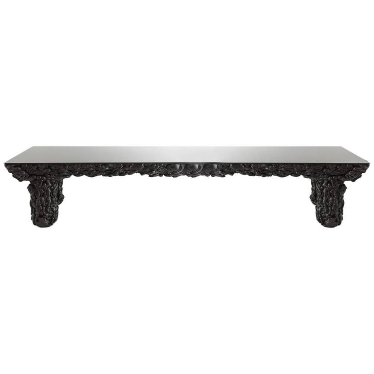 Black With Glass Top and Wood Contemporary Dining Table by Guillermo Santomá  For Sale