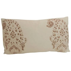 Vintage Hand-Blocked Indian Brown Paisley Lumbar Decorative Pillow