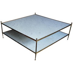Hollywood Regency Italian Marble and Brass Two-Tiered Square Coffee Table