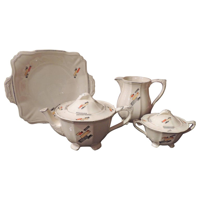 Art Deco English Tea Set Service for Eight by Alfred Meakin