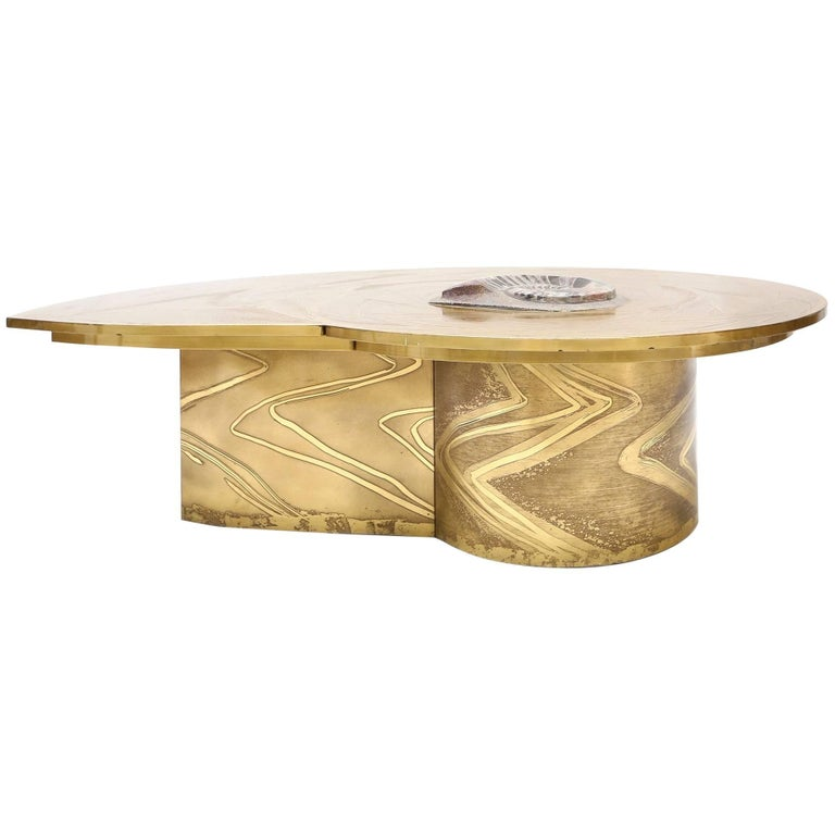 Marc D'Haenens Brass Coffee Table With Inlaid Polished