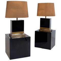Pair of Black Lacquered Lamps by Jean-Claude Mahey, circa 1970, France