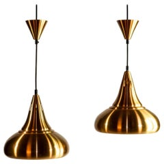 Pair of Copper Midcentury Drop Shaped Pendants in the Style of Jo Hammerborg