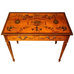 Edwardian Sheraton Revival Painted Satinwood Desk