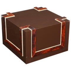 Modernist Cube Form Cocktail Table with Faux Tortoiseshell Decoration