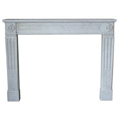 Louis XVI Mantel in Carrara Marble, NY-162
