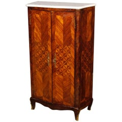 French Inlaid Sideboard in Rosewood with Marble Top, 20th Century