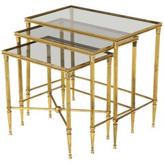 Italian Brass Nesting Tables with Inset Smoked Glass Tops