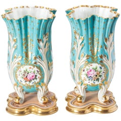 Pair of 19th Century Blue Floral Vases