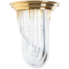Venini Curved Crystal Glass Gilt Brass Flush Mount Lamp, Italy, 1960