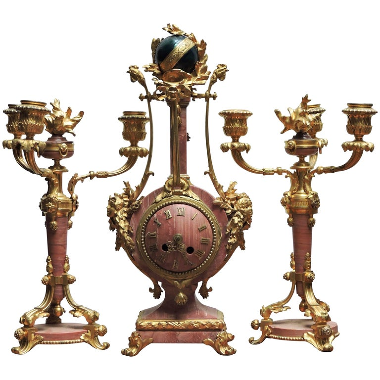 French 1880 Louis XVI Style Ormolu and Marble Three-Piece Clock Garniture For Sale