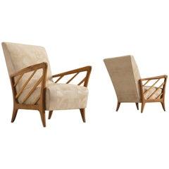 Italian Walnut Easy Chairs, circa 1960