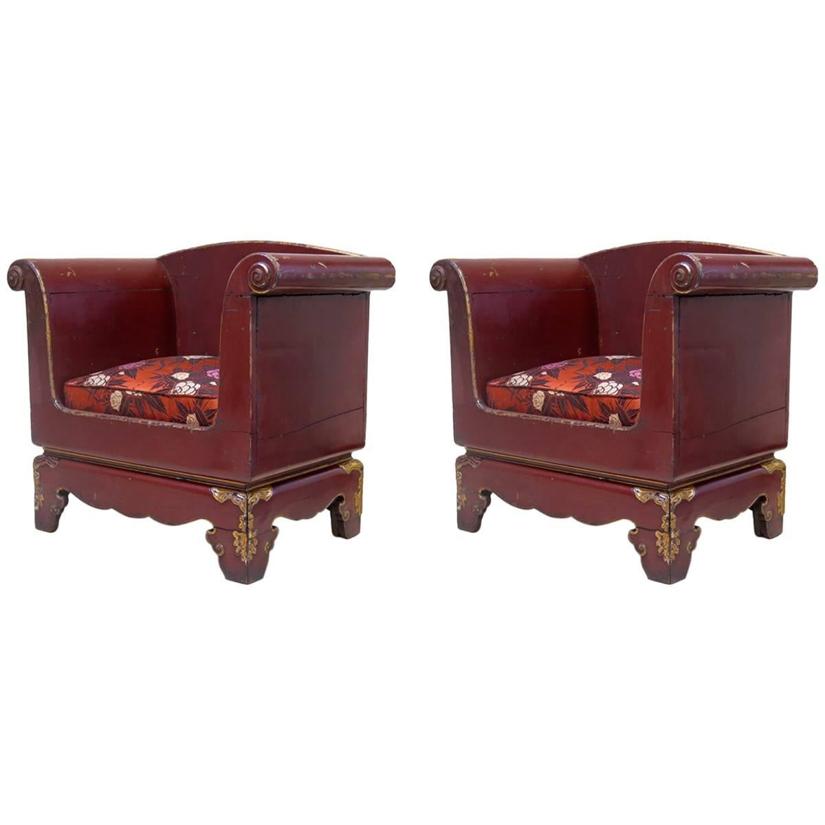 Pair of Chinoiserie Art Deco Chairs, France, circa 1930s
