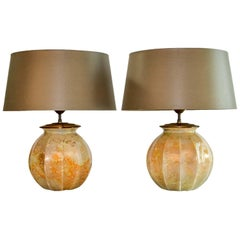 Stunning Pair of French Handmade Glass Laque Line Table Lamps, 1970s