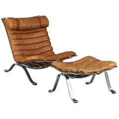 Ari Lounge Chair and Ottoman by Arne Norell in Leather and Steel