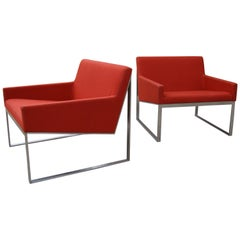 Pair of B3 Upholstered Lounge Chairs by Fabien Baron for Bernhardt 'USA'