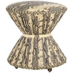 Snakeskin Printed Fabric Stool on Casters with Studded Trim