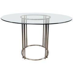Milo Baughman Chrome Double Tube Base Dining Table