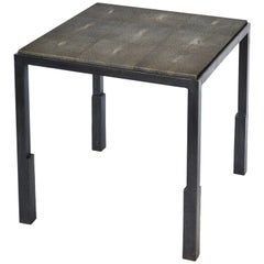 Handmade Blackened Steel and Shagreen Side Table by J.M. Szymanski, made in NYC