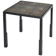 Shagreen Side Table Modern Geometric Stark Thick Handmade Blackened Steel Waxed