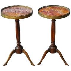 Pair of Louis XVI Marble-Top Gueridon Drink Tables