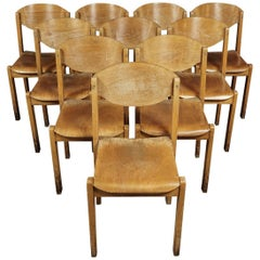 Set of Ten Stacking Chairs from a University in France, circa 1960