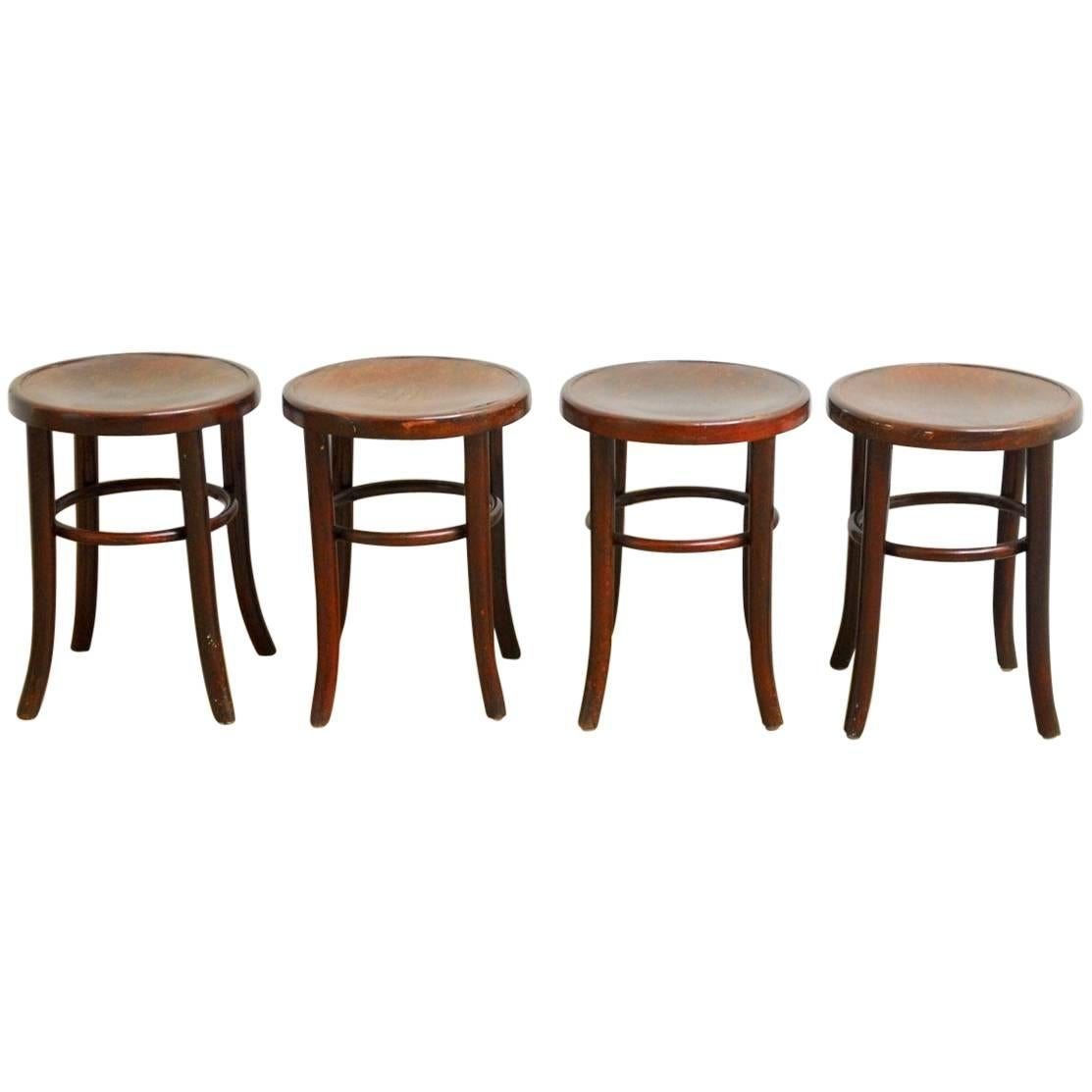 Set Of Four Gebruder Thonet Bentwood Bistro Stools Thonet Bar Stool57