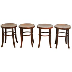 Set of Four Gebruder Thonet Bentwood Bistro Stools