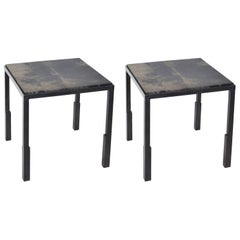 Pair of Handmade Blackened Steel and Parchment Side Tables by J.M. Szymanski
