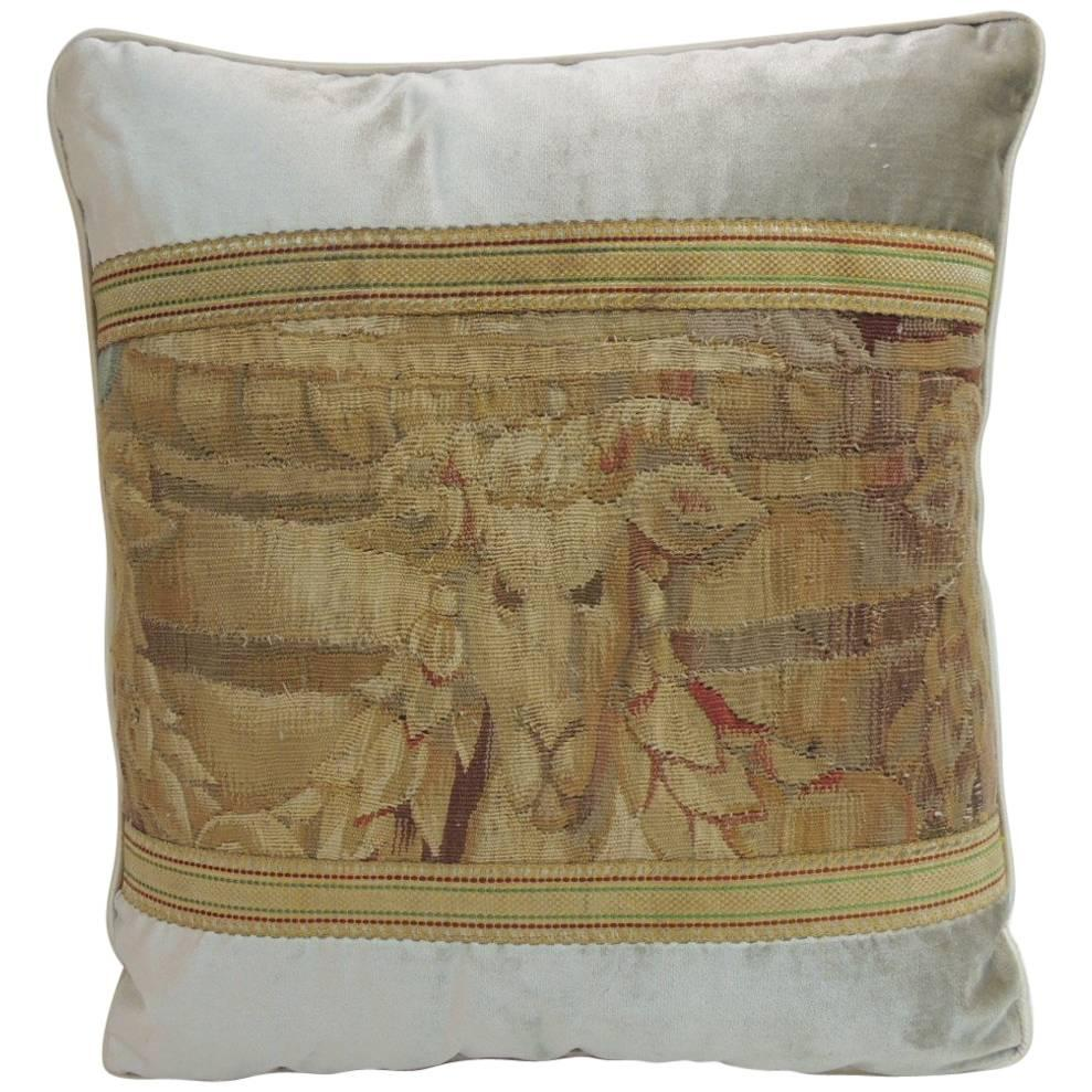 Antique Aubusson Tapestry and Grey Silk Velvet Decorative Pillow