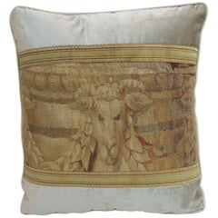 19th Century Aubusson Tapestry and Grey Silk Velvet Decorative Pillow