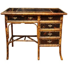 Aesthetic Movement Bamboo Chinoserie Decorated Desk