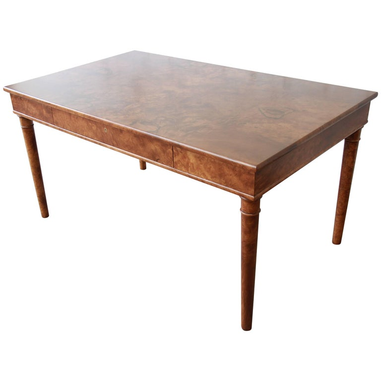 Dessin Fournir Louis Philippe Style Burl Wood Library Table or Writing Desk