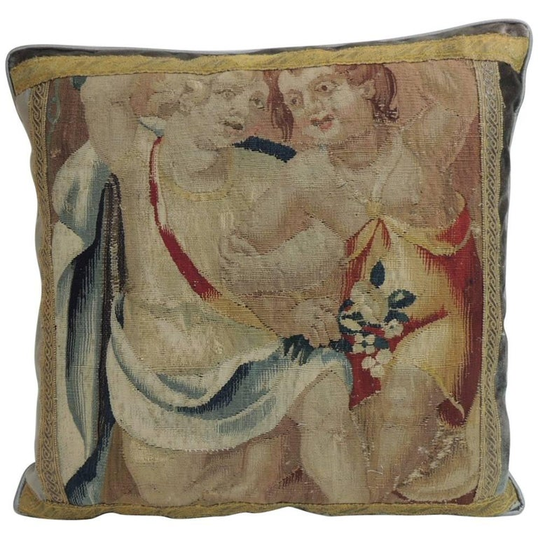 19th Century Aubusson Tapestry and Grey Silk Square Decorative Pillow For Sale