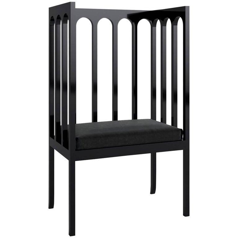 Arch Narrow Armchair 'Black Lacquered Maple Wood' by Dmitry Samygin