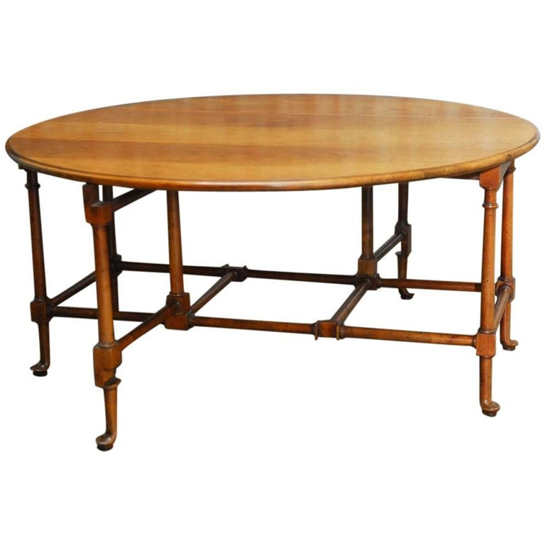 Baker Coffee Table Round: Queen Anne Style Mahogany Drop-Leaf Coffee Table By Baker