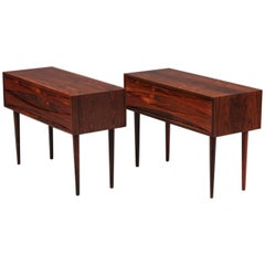 Pair of Arne Vodder Low Two-Drawer Rosewood Side Tables