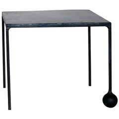 Hand-Carved Iron End Table in Blackened and Waxed Finish by J.M. Szymanski, NYC