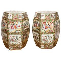 Pair of Chinese Porcelain Rose Medallion Garden