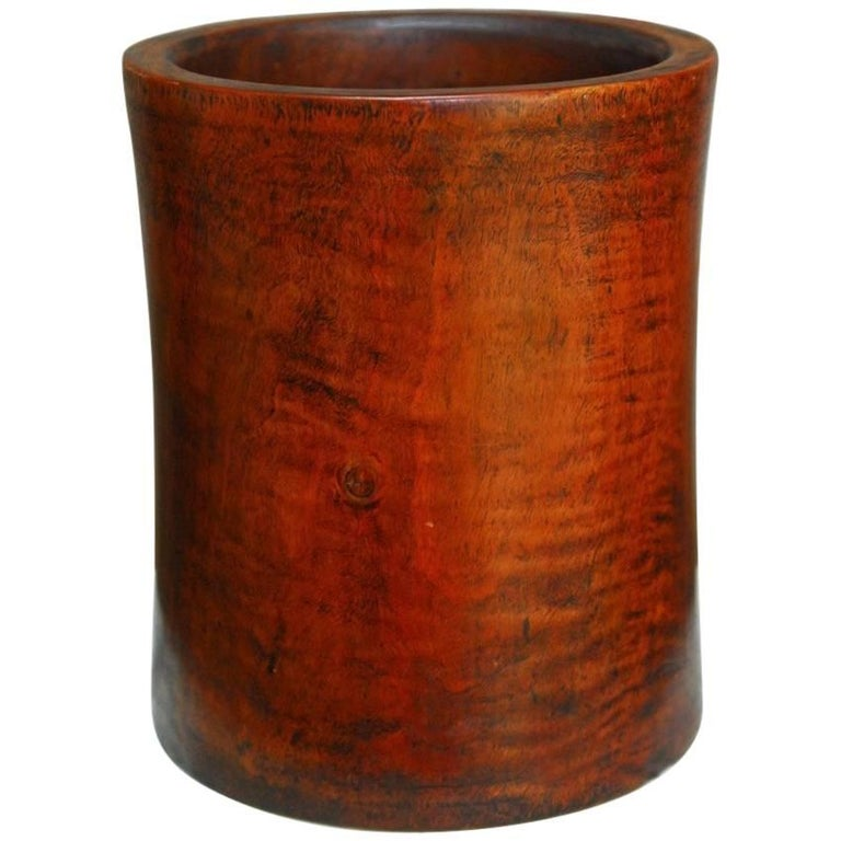 19th Century Monumental Chinese Carved Rosewood Brush Pot  For Sale