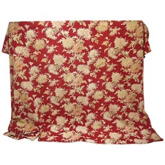 Late 19th Century French Large-Scale Floral on Red Cotton Throw