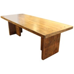 Modern Dining Table Made from Vintage French Pine Planking