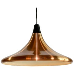 Midcentury Copper Circular Pendant in the Style of Jo Hammerborg, 1960s