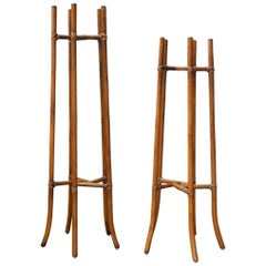 Pair of Midcentury Bamboo Rattan Plant Stands by McGuire