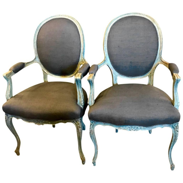 Pair of 19th Century French Louis XV Fauteuils/Open Armchairs