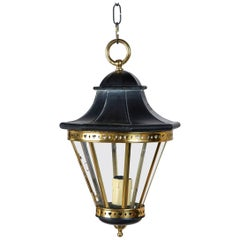 1970s Small Black and Brass Lantern