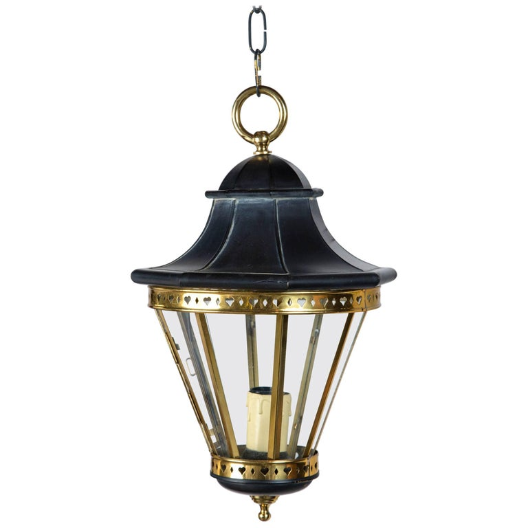 1970s Small Black and Brass Lantern For Sale